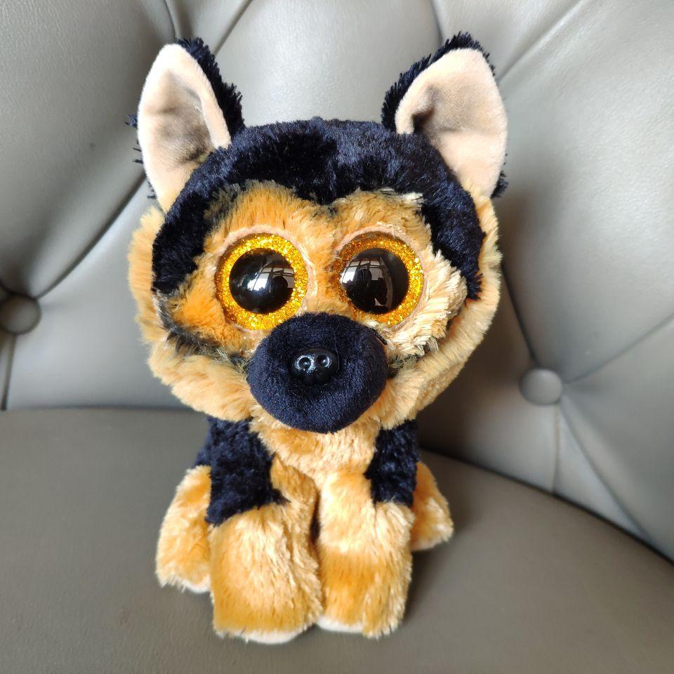 15CM Spirit German Shepherd Dog Big Beautiful Eyes Plush Toys Stuffed Animals Cute Gift Kids Soft Toys Gift Real Picture