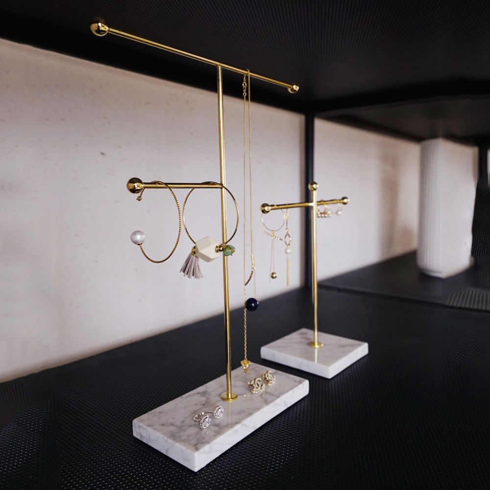 Image 2 - Nordic Metal Golden Storage Rack with Marble Base Chic Ins Modern