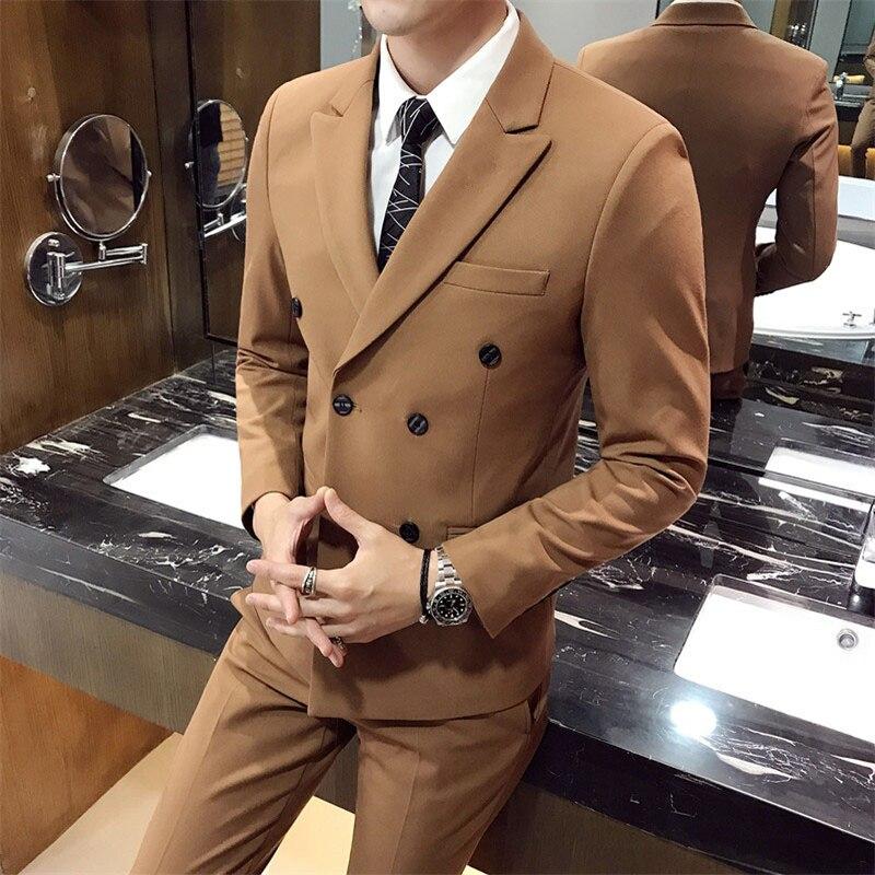 PAULKONTE Men Wedding Suits High Quality Business Casual Fashion Simple Three Piece Suit Set Banquet Host Classic Men's Suit