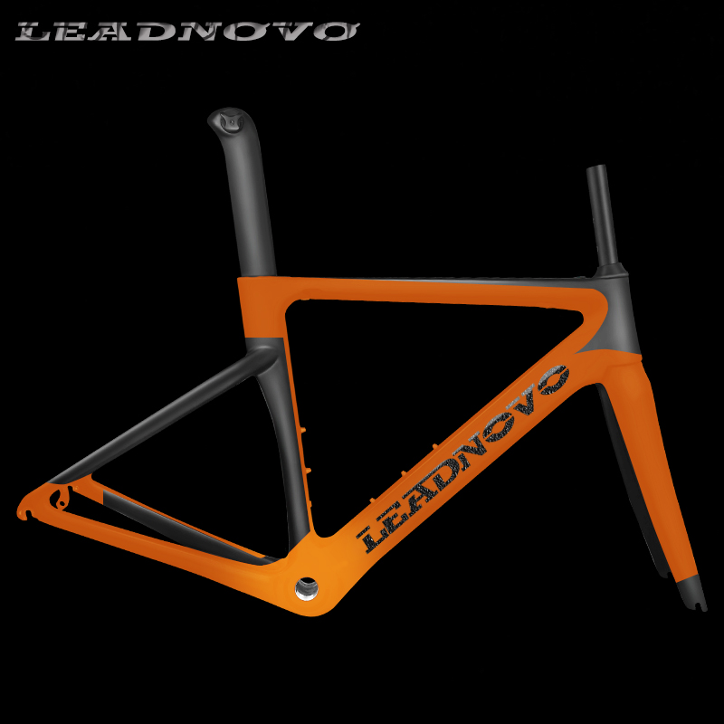 Nouveau cadre de route en carbone câble intérieur Di2 & cadre de route en carbone pour vélo de course mécanique + fourche + tige de selle + casque vélo de route en carbone LEADNOVO