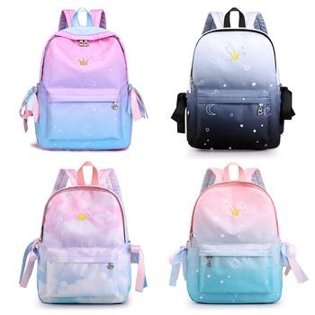 Korea kobiety plecaki szkolne dzieci torby szkolne dla dziewczynek podstawowy tornister szkolny szkolne torby kartonowe plecak drukarski tanie i dobre opinie NYLON zipper Backpack 0 5kg Nylon polyester 38cm Cartoon 1B-011 Dziewczyny 29cm