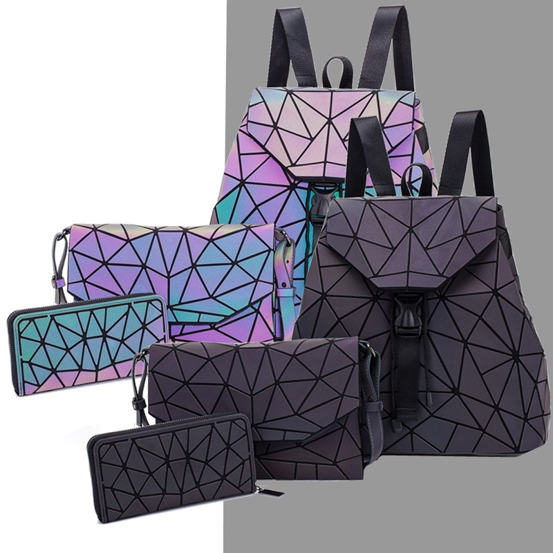 Women Backpack Set Holographic Luminous Schoolbag Fold Envelope Bag For Ladies Clutch Purse Splicing Luminous Reflective Bags