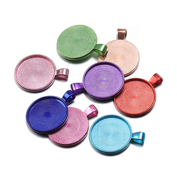 10pcs Fit 25mm Colorful Necklace Pendant Setting Cabochon Cameo Base Tray Bezel Blank Cabochon Base for Jewelry Making DIY juya jewelry making cabochon base 4pcs 25mm inner size diy charms necklace pendant cabochon matching glass supplies accessories