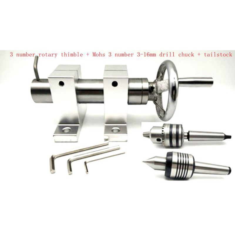 Mini Bead Machine Woodworking Lathe Accessories Plum Rotating Thimble Chuck Tool Holder Tailstock Spindle Lathe Tailstock