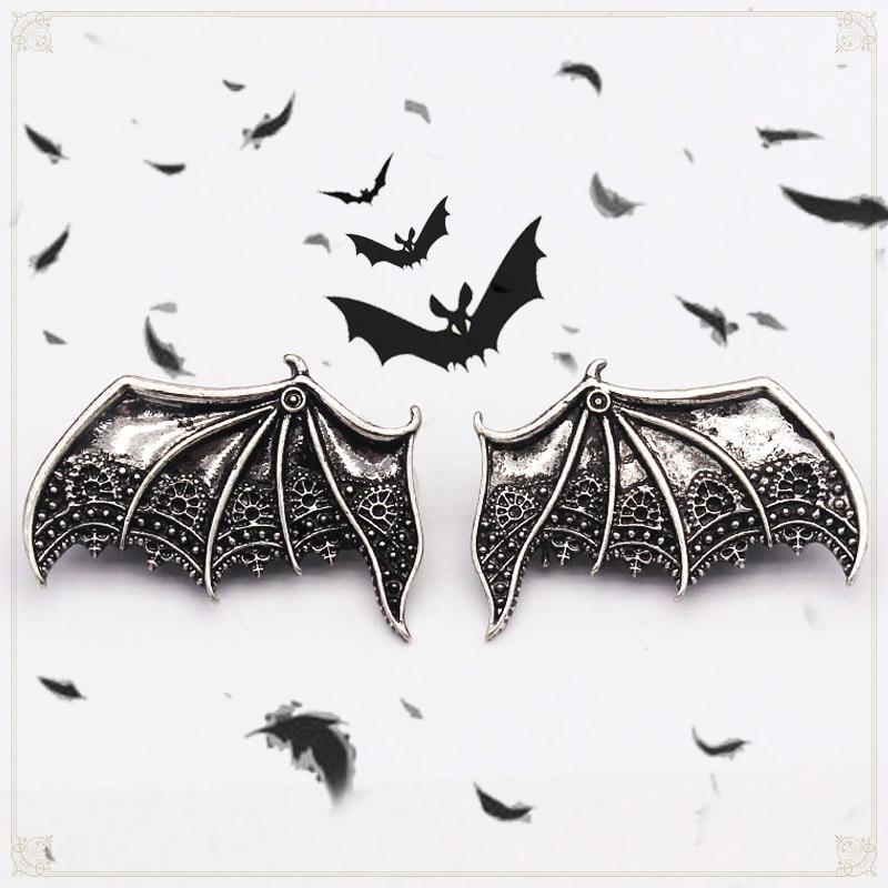 HUANZHI 2020 New Punk Gothic Vintage Matte Black Silver Colour Vampire Bat Wings Alloy Hair Clip Hair Accessories For Women