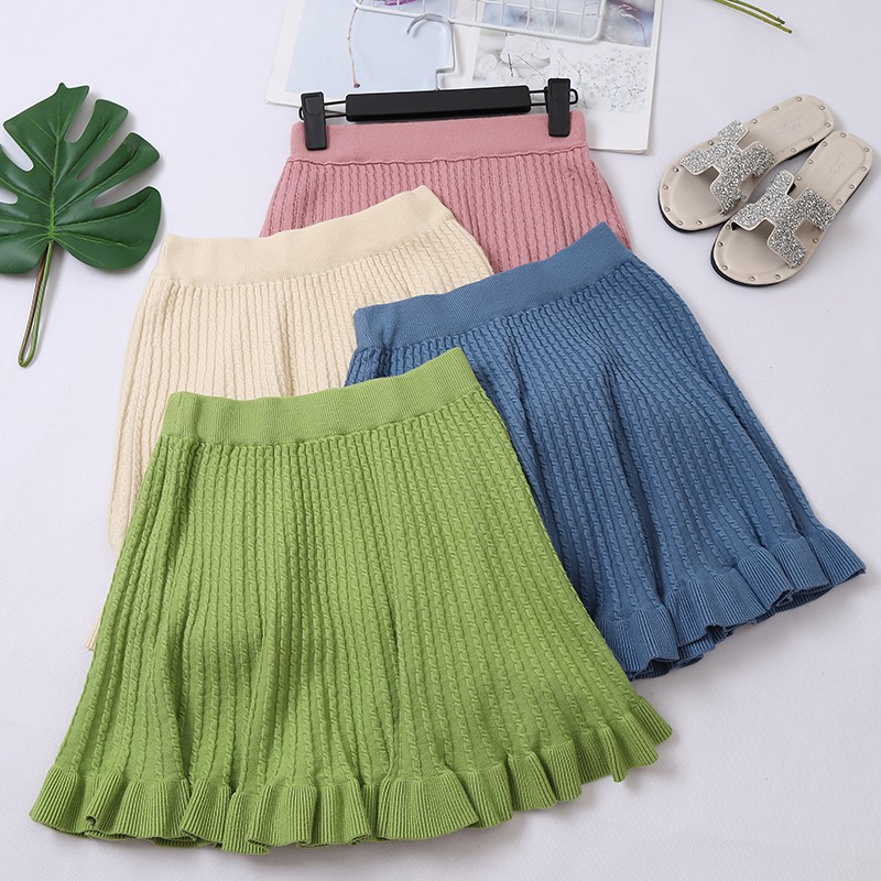 Casual Knitting Skirt Women Autumn Korean Sweet Slim Skirt Solid Color Elasticated High Waist Thin Ruffles Hip Kawaii Mini Skirt