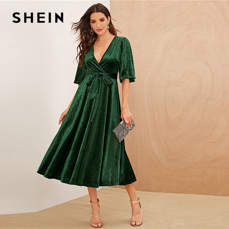 SHEIN Green Pleated Sleeve Wrap Belted Velvet Dress Short Sleeve V Neck Women High Waist Spring Glamorous Flared Dresses 1