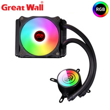 цена на Great Wall LED CPU Cooler RGB PC Case Water Cooling Computer Fan 120mm 12V Heatsink 4PIN Aluminum CPU Radiator Water Cooler