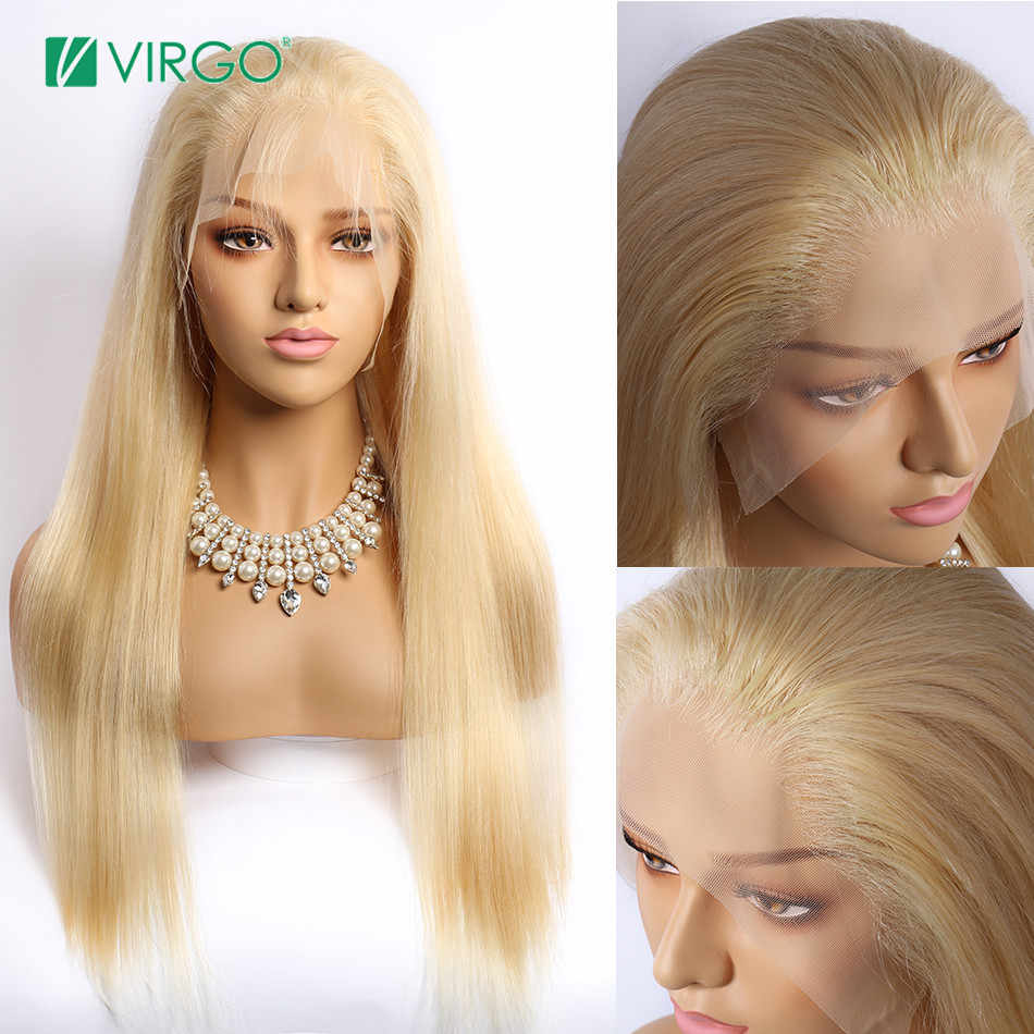 Virgo blond koronki przodu włosów ludzkich peruk Remy 150% gęstości brazylijski proste włosy 13x6 przezroczyste koronkowe peruki 613 włosy blond peruka