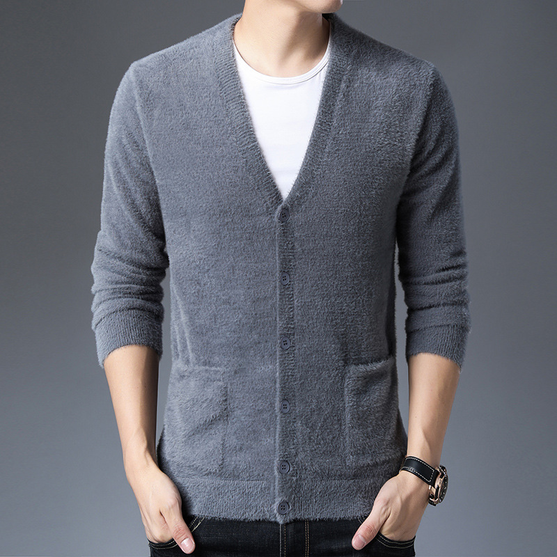 2020 New Sweater Men's Cardigan Imitation Mink Sweater Coat Spring and Autumn Casual Mens Sweaters