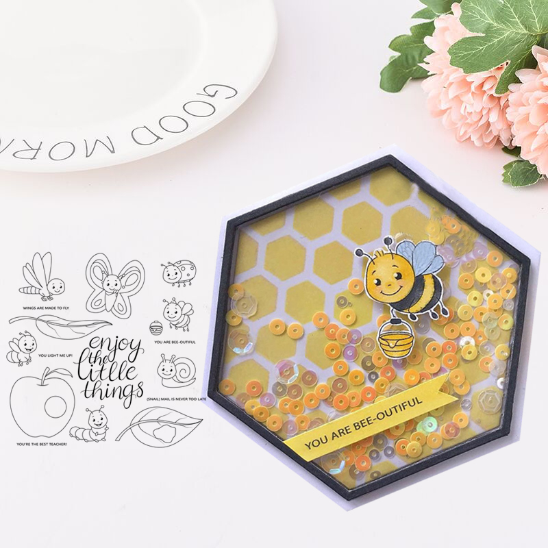JC Rubber Stamps Clear Scrapbooking Insect Silicone Seals Craft Stencil Album Card Making Template Decoration New Stamps 2019 in Stamps from Home Garden