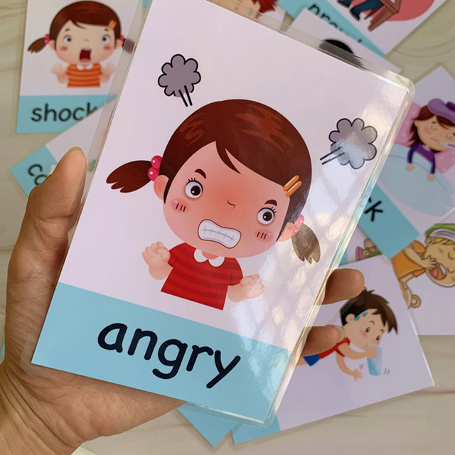 14pcs Montessori Baby English Learning Cards Cartoon Emotion Flash Cards For Children Early Educational Toy Memory Game For Kids 1