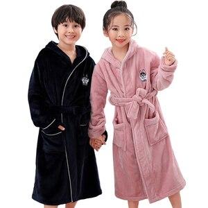 Image 4 - New Arrival Winter Bathrobe for Children Flannel Warm Lengthen Robe Thicken Hooded Dressing Gown Girl Boys Coral Velvet Pajamas