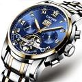 KINYUEDSapphire Synthese hochfesten Mineral Spiegel Mond Funktion Uhr Wasserdicht männer Mechanische Uhren Relógio de homem-in Mechanische Uhren aus Uhren bei