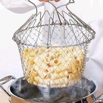 1PC pliable vapeur rinçage souche friture huile friture Chef panier maille panier crépine filet cuisine outil de cuisson 1