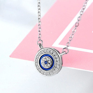Image 4 - KALETINE Turkey CZ Evil Eye 925 Sterling Silver Jewellery Sets for Women Blue Round Pendant Necklace Ring Stud Earrings Wedding