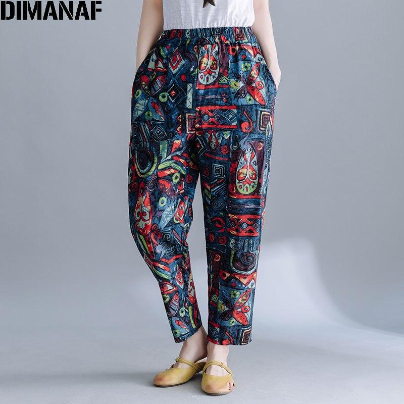 DIMANAF 2020 Plus Size Women Pants Linen Harem Pants Pattern Vintage Style Print Elastic Waist Female Loose Trousers Pantalon