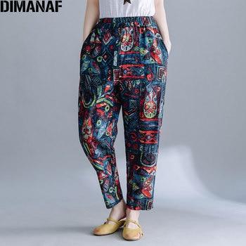 DIMANAF 2020 Plus Size Women Pants Linen Harem Pants Pattern Vintage Style Print Elastic Waist Female Loose Trousers Pantalon animal pattern elastic waist trousers