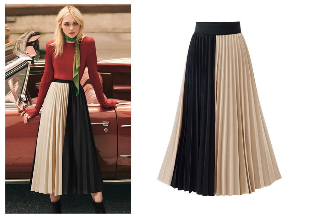 High-waisted Mid-length Mixed Colors Pleated Skirt