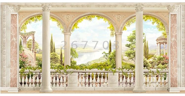 HHCYY 3D Papier Peint Colonne Romaine Vol Licorne P/étale 3D Fond Mur-120cmx100cm