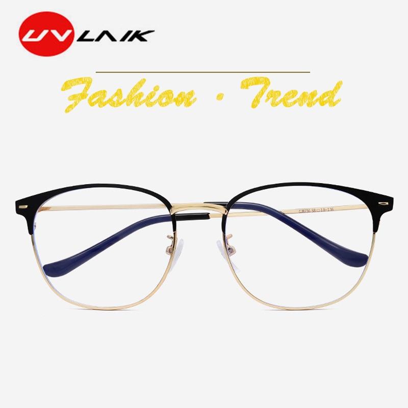 UVLAIK Anti-blue Light Cat Eyes Women Glasses Frame Ultralight Metal Frame Vintage Brand Design Working Transparent Glasses