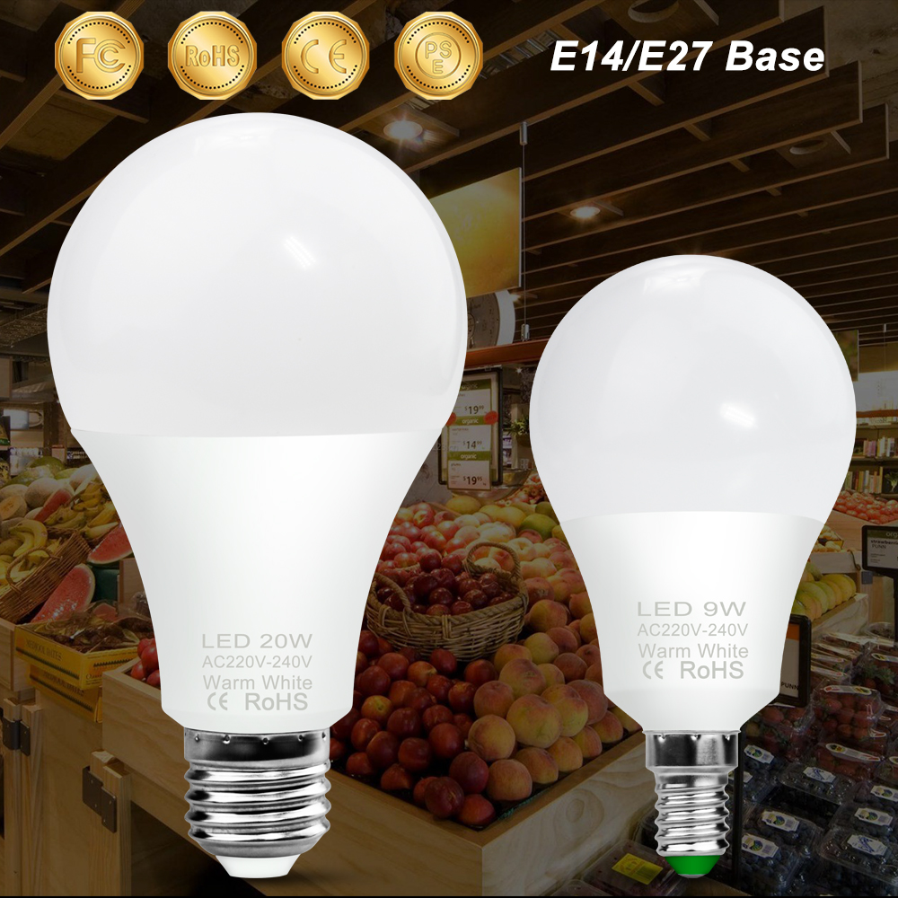 E14 LED Light Bulb 220V Ampoule LED Lamp E27 20W LED Bulb 3W 6W 9W 12W 15W 18W Bombillas 240V High Brightness Spotlight Lighting