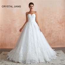 Luxury Ball Gown Wedding Dress Sweetheart Lace Applique Custom made Zipper Back Vestido De Novia Marriage Bride