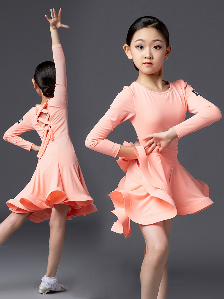 Kids Latin Dresses For Girls Long Sleeve Latin Dance Dress Ballroom Competitiondress Stage Performance Practice Costumes DQS3054