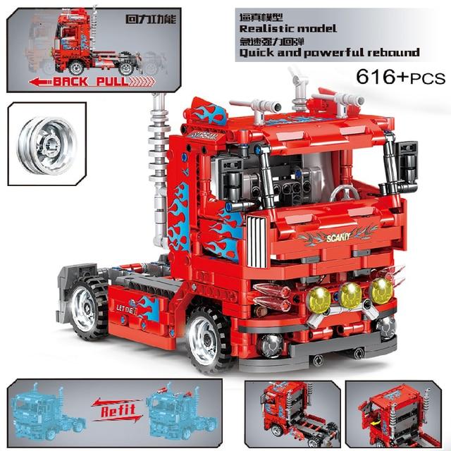 MOC 616pcs Classic City Pull Back Heavy Duty Truck Building Block Model High-Tech Vehicle Kid Toy Assembled DIY Bricks Gifts 1