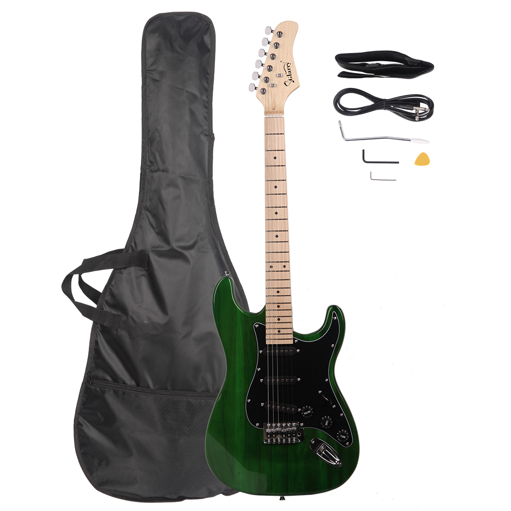 Glarry GST Stylish Electric Guitar Kit With Black Pickguard Power Cord Guitar Bag Shoulder Strap And Plectrum Etc High Quality