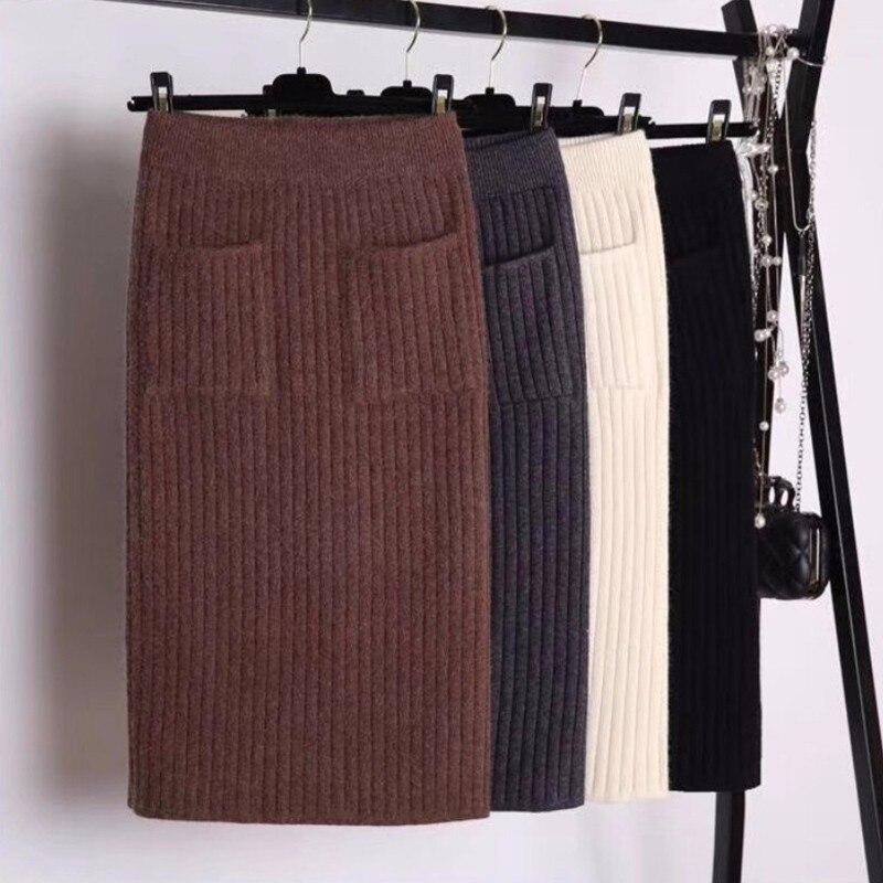 DeRuiLaDy 2019 Nova Queda Inverno Quente Saia Elegante Elastic Malha Saias de Cintura Alta Pockets Casual Saia Midi Preto