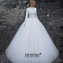 Винтажное кружевное арабское хиджаб с длинными рукавами мусульманское подвенечное платье, свадебное платье, свадебное платье для невесты