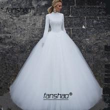 Encaje Vintage árabe De manga larga, Vestido De boda Hijab, Vestido De boda musulmán abiye abiti da sposa, Vestido De novia