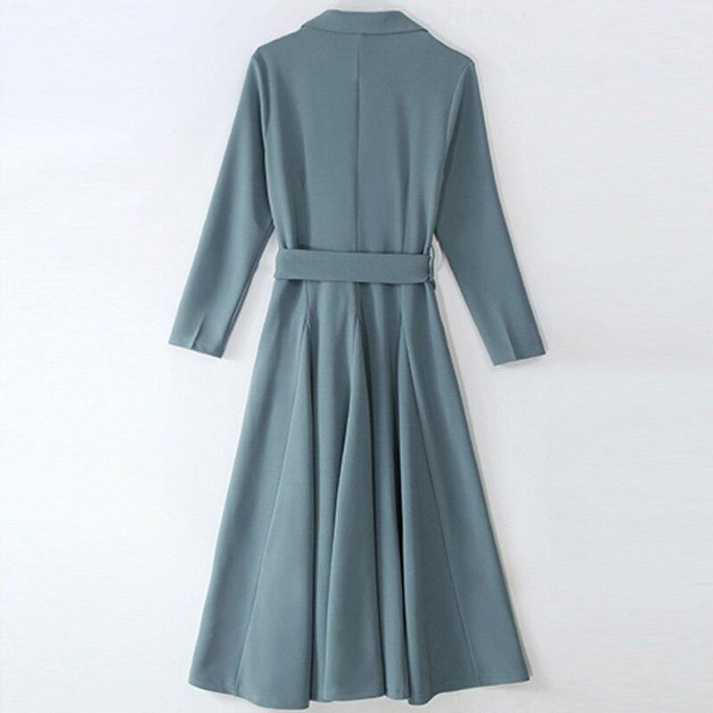 Mode cheville-longueur robe femmes vêtements tempérament col en v à manches longues robe 2019 printemps décontracté a-ligne robe femmes - 2