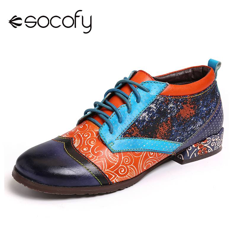 SOCOFY Bohemian Pattern Spots Colorful Stitching Genuine Leather Flat Shoes Elegant Ladies Shoes Women Botines Mujer 2020