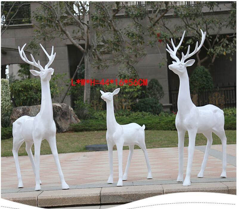 Outdoor Home Simulation Plum Blossom Elk White Deer Resin Sculpture Ornaments Courtyard Garden Figurines Decoration Crafts Art Figurines Miniatures Aliexpress