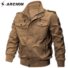 S.ARCHON Winter Military Jacket Men Cotton Bomber Warm Thick Jacket Coat Casual Cargo Air Force Pilot Men Jacket Clothing EU NA все цены