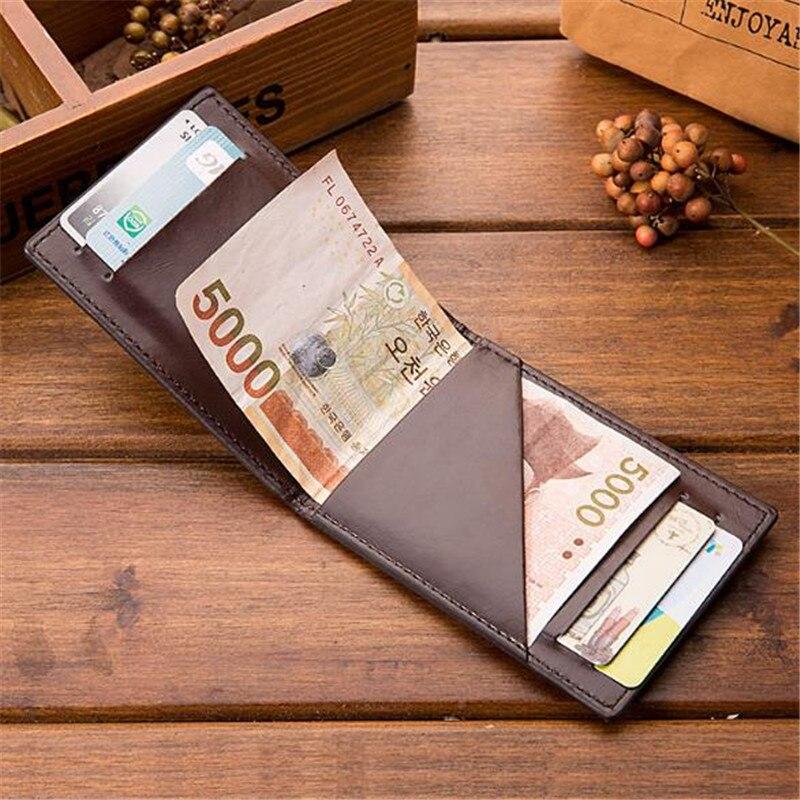 Minimalist Men Short Wallet Credit Card Bag Leather Portfolio Wallet Purse Male Slim Billetera Portemonnee Small Money Clip