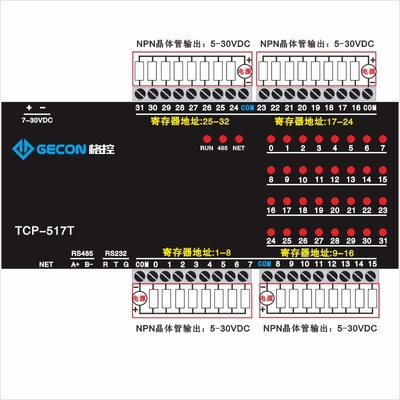 32-channel DO NPN Transistor 100mA Output DO RS485 RS232 Modbus TCP&RTU Module