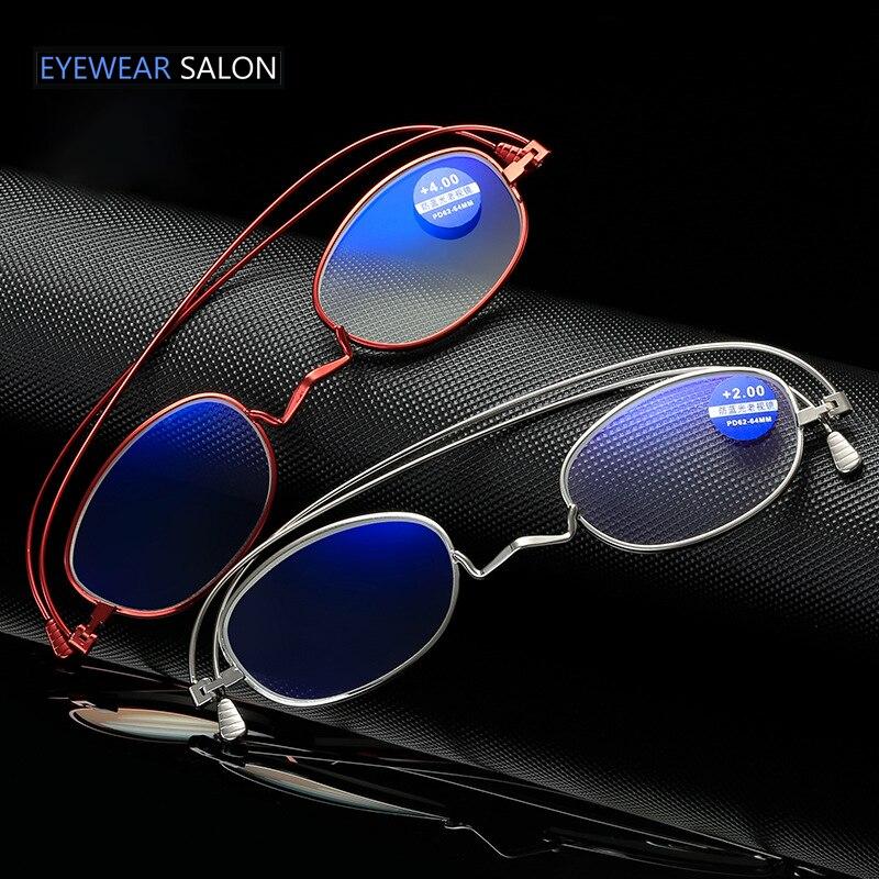 360 gradi rotazioni pieghevole occhiali da lettura Ultra leggero sottile telaio in metallo uomini lettore ingranditore donne presbiti occhiali portatili