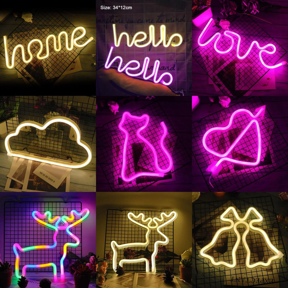Creative LED Neon Light Sign LOVE HEART Wedding Party Decoration Neon Lamp Valentines Day Anniversary Home Decor Night Lamp Gift