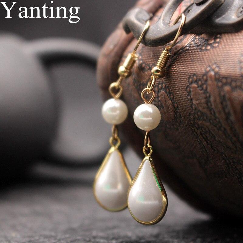 Yanting Classic Water Drop Earrings For Women Manmade Pearl Brincos Handmade Hanging Earring Female Wedding Earrings Gifts 0135(China)