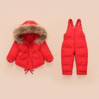 Winter Warm Children's Clothing Sets Real Fur Baby Girl Duck Down Snowsuit Kids Ski Suit Set Winter Boy's Down Jackets+pants 2 3