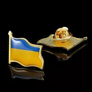 Ukraine Country Flag Waving 3D Lapel Hat Cap Tie Pin Badge Republic Brooch Patriotism Pride(China)