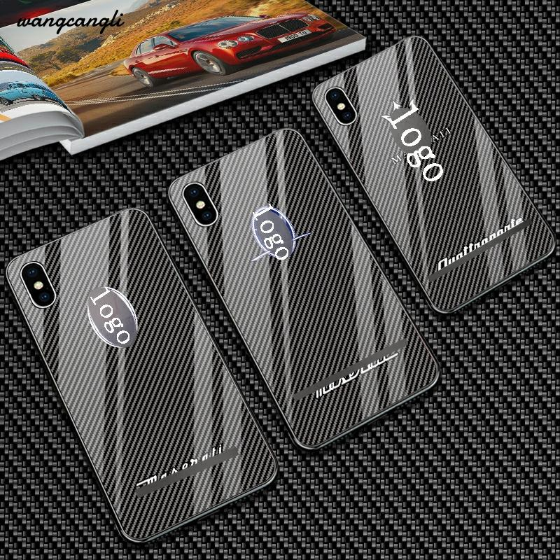 For Maserati car logo for iPhone 7 and tempered glass case for iPhone X/XS/XR/XSMAX/ 6 6S Plus carbon fiber pattern housing image