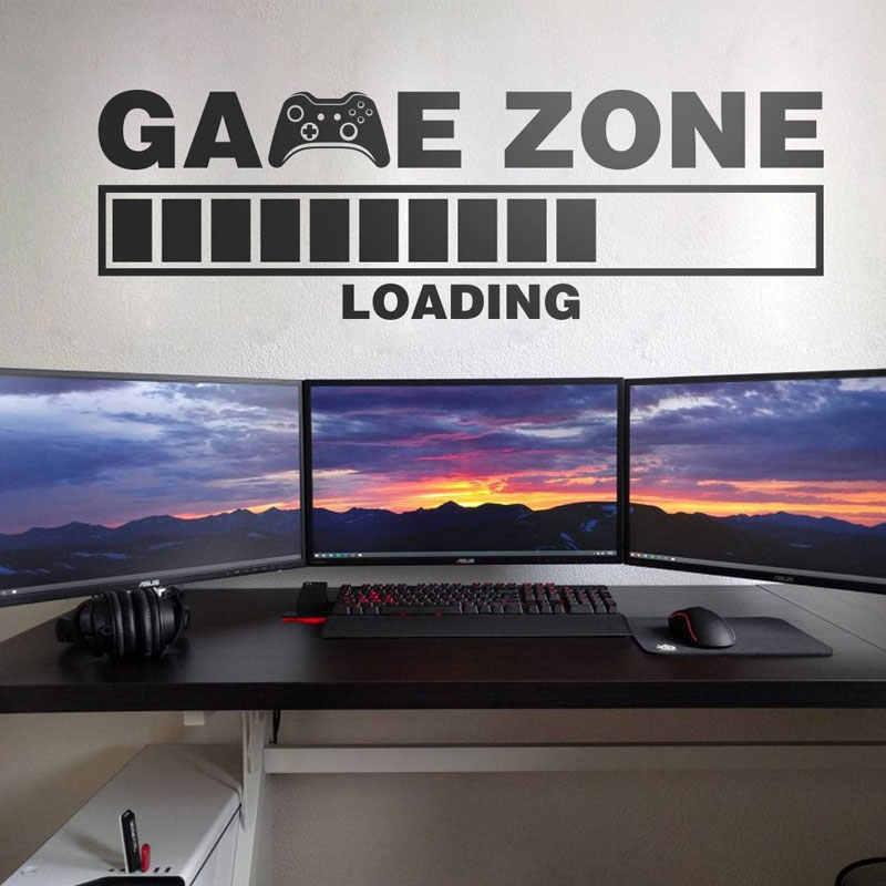 WJWY เกม Zone โหลด Controller สติกเกอร์ผนังเด็กเด็กตกแต่งบ้าน GAMING Room Wall Decals ตกแต่งห้องนอน