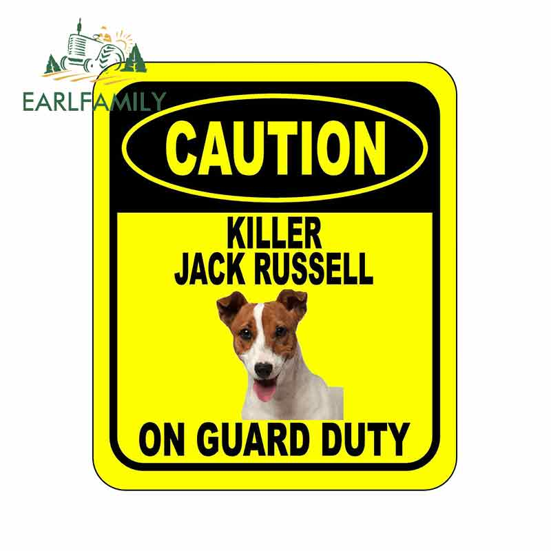 EARLFAMILY 13cm X 11cm CAUTION KILLER JACK RUSSELL ON GUARD DUTY Car Sticker Metal Aluminum Composite Sign Pet Dog Decal