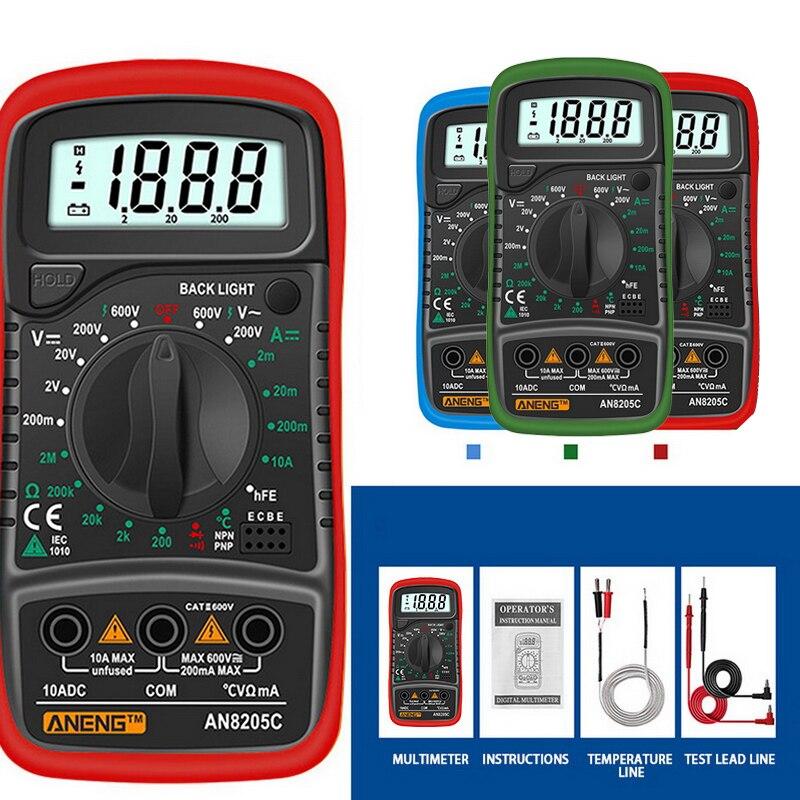 Цифровой мультиметр AN8205C, переменный/постоянный ток, амперметр, вольтметр, Ом, мультиметр с термопарой и ЖК подсветкой, портативный|Мультиметры|   | АлиЭкспресс