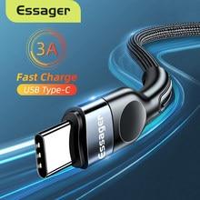 Essager кабель с разъемом USB Type-C для Samsung Xiaomi mi 3A быстрой зарядки USB-C кабель Мобильный телефон зарядное устройство USBC Type-C кабель AWG кабель 2 м