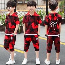 Kids Sets Boys Summer New Children Short Sleeve T Shirt +pant 2Pcs Sets of Children's Sport Suit 4-14 Ages Clothing 4 7 9 13Year